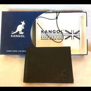 NWT Black Leather Kangol Britain Men Bifold Wallet